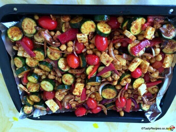 vegetable and halloumi traybake recipe