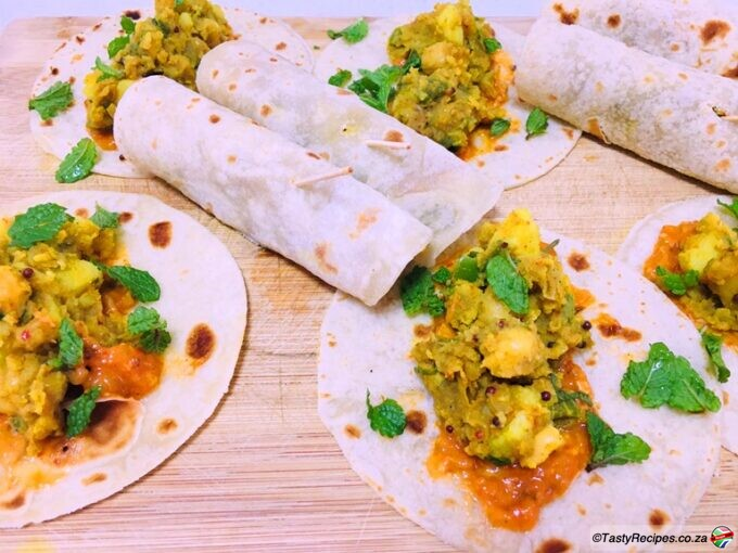 chickpea and potato wraps recipe