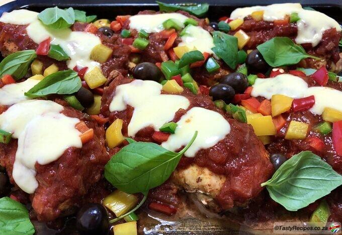 pizza chicken traybake recipe